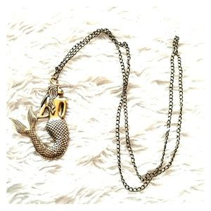 Jewelry - Gold plated Metal mermaid necklace - New